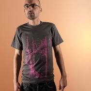 Trentemoeller American Apparel Round Neck Shirt (Asphalt / Pink Print)