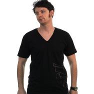 Wagon Repair Side Logo V- Neck Shirt (Black)