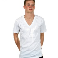 Wagon Repair Loves Duel V- Neck Shirt (White/White Print)