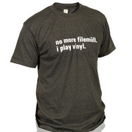 I Play Vinyl Shirt (Heather Black / White Print)