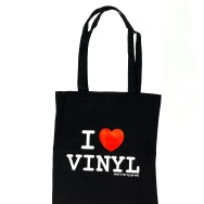 I Love Vinyl Jute Bag (Black)