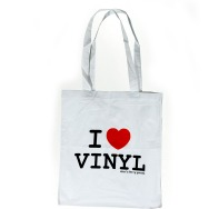 I Love Vinyl Jute Bag (White)
