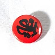 Plastikman Button (Red Back Black Logo)