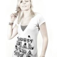 Industrial Strange V Neck Girl Shirt (White)