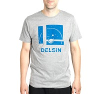 Delsin Label Stamp Shirt (Heather Grey w/ Blue Print)