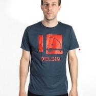 Delsin Label Stamp Shirt (Denim Blue w/ Red Print)