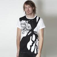 Trentemoeller Round Neck Designer Shirt (White / Black Print)