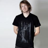 Trentemoeller American Apparel V-Neck Shirt (Black / Black Print)