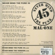 Back View : Mal-One - NEVER MIND THE PUNK 45 (7 INCH) - Jamaican Recordings / MAL-ONE001 / Malone001