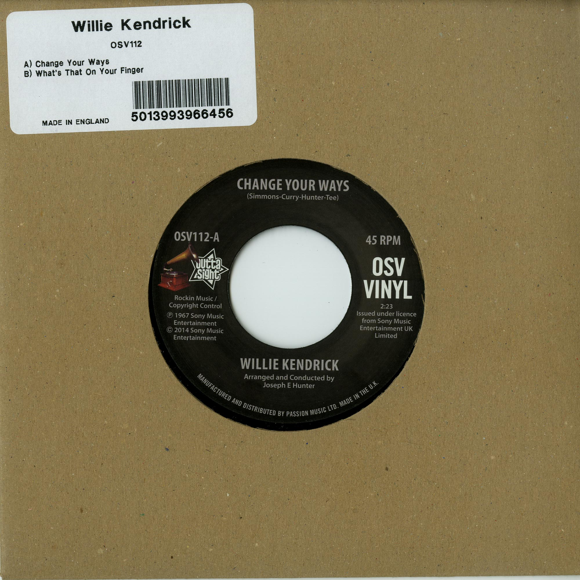 Willie Kendrick - CHANGE YOUR WAYS / WHAT S THAT ON YOUR FINGER