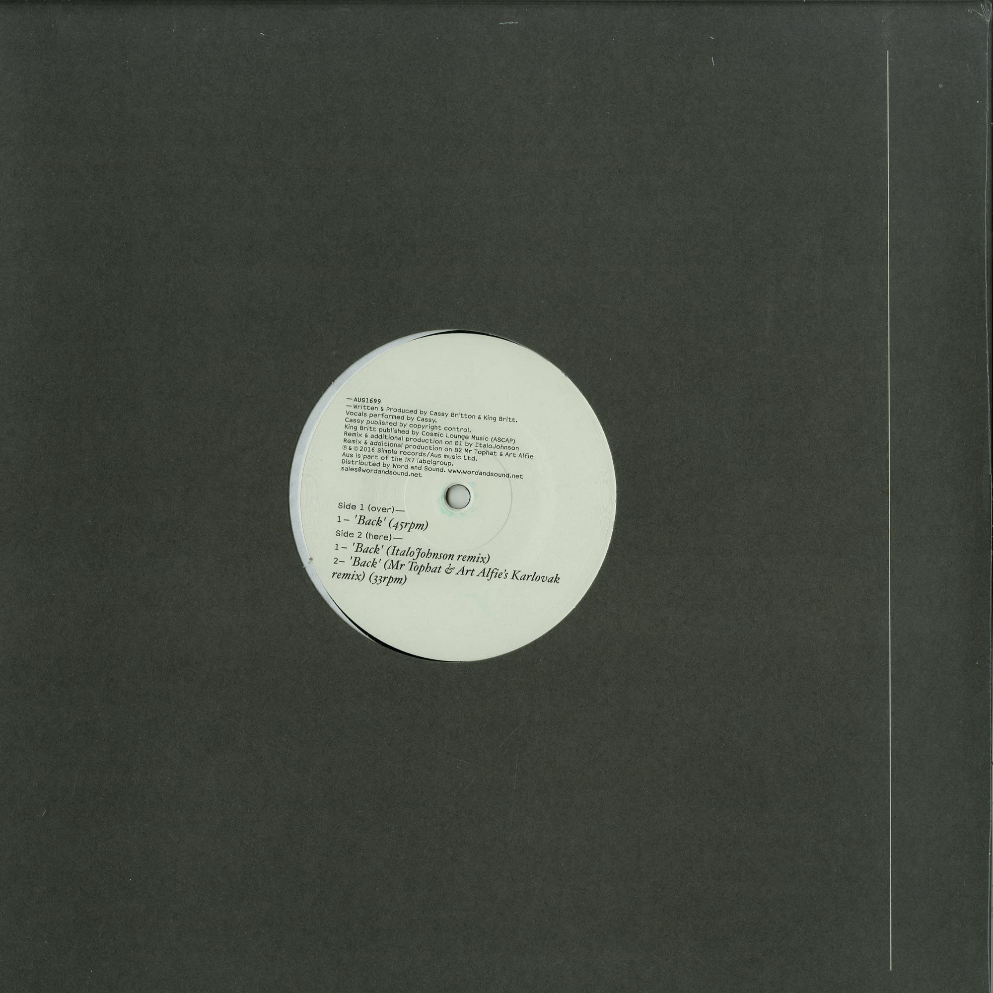 Cassy - BACK EP ITALO JOHNSON RMX MR TOP HAT ART ALFIES KARLOVAK REMIX