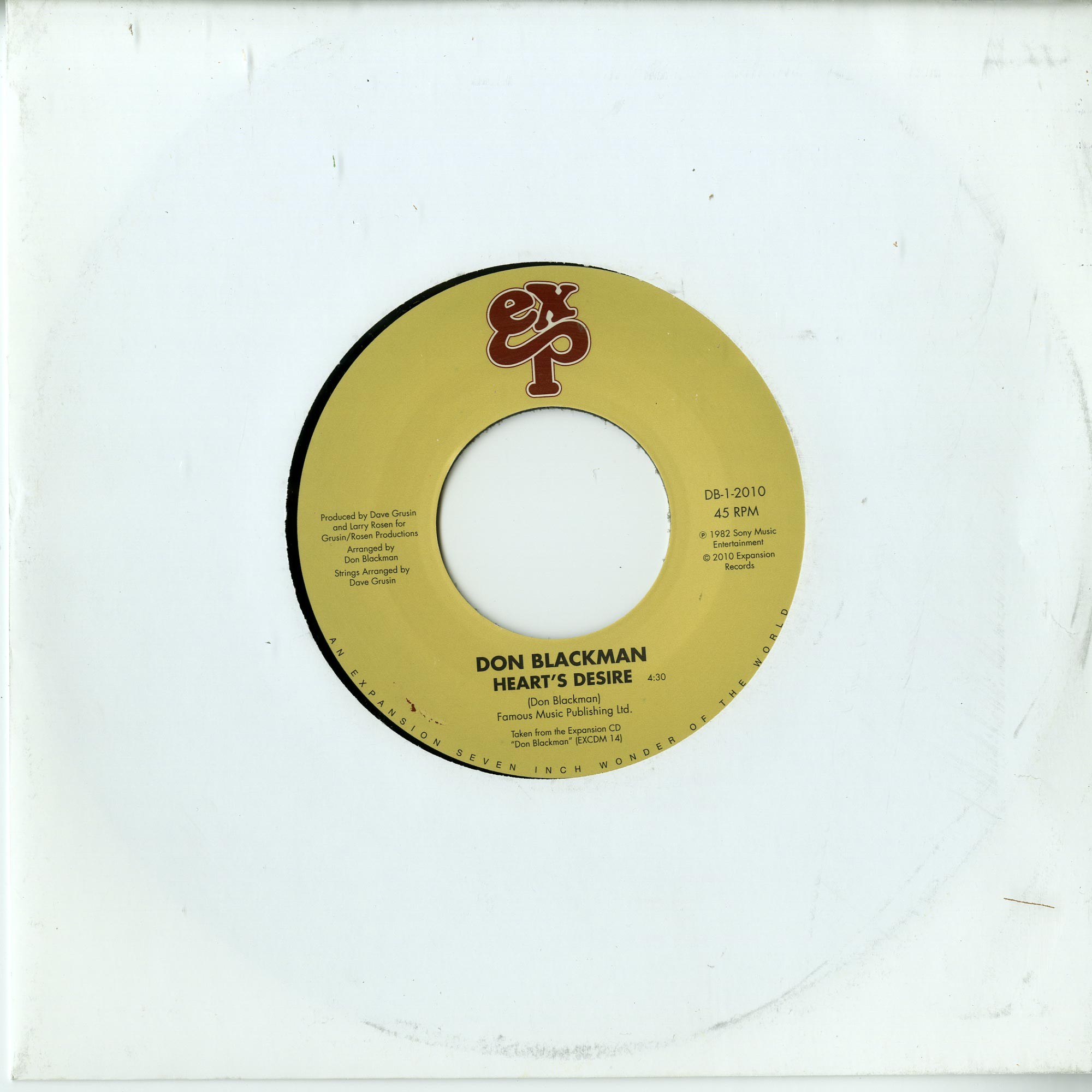Don Blackman - HEARTS DESIRE / HOLDING YOU. LOVING YOU